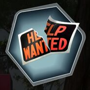 Ripped paper help wanted sign