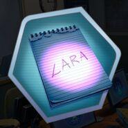LARA written on notepad evidence