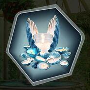 Seaside wedding theme seashell candles blue