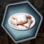 Beignet powder sugar plate pastry donut