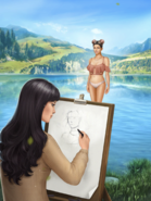 Sumire sketching female P2R MC in Ch7