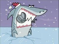Shark eats snowmobile