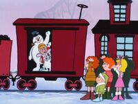 Frosty and Karen board the train
