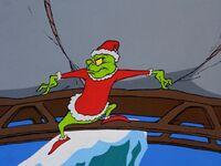 Grinch prepares to dump his sleigh