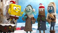 SpongeBob gives fruitcake to carolers