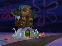Squidward's house is decorated
