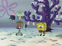 Squidward delighting in SpongeBob's misery