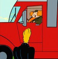 A trucker offers them a lift