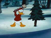 Donald chopping down a tree