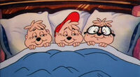 Chipmunk-christmas-1981-alvin-simon-theodore-in-bed-asleep-holiday