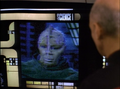Albert Hall's image from a recording disc in Star Trek-The Next Generation-Booby Trap
