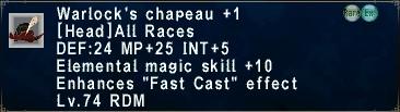 Warlock's Chapeau +1