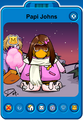 Papi Johns Player Card - Early September 2020 - Club Penguin Rewritten