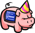 Screenhog with party hat