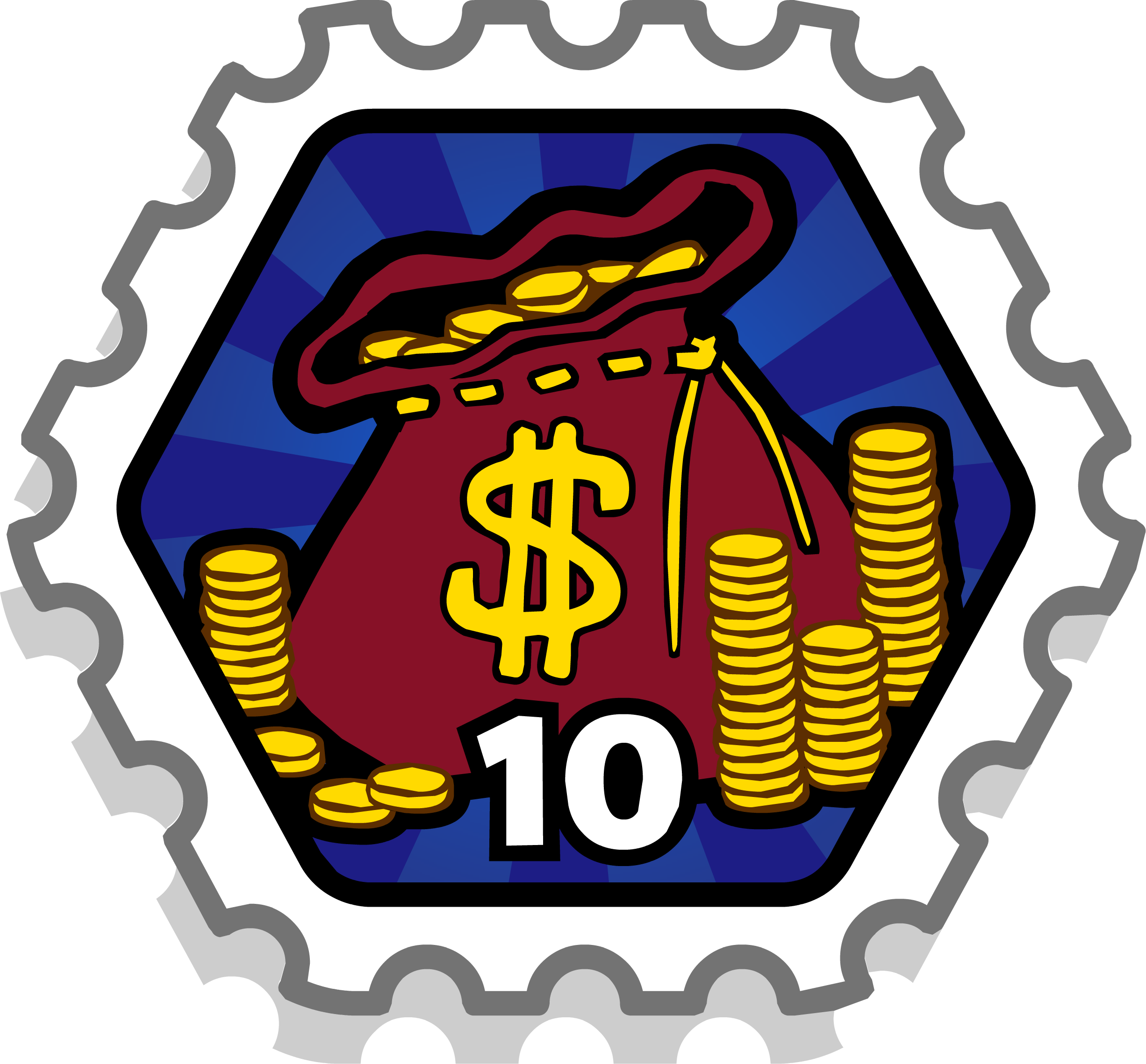 10 Coin Bags Stamp