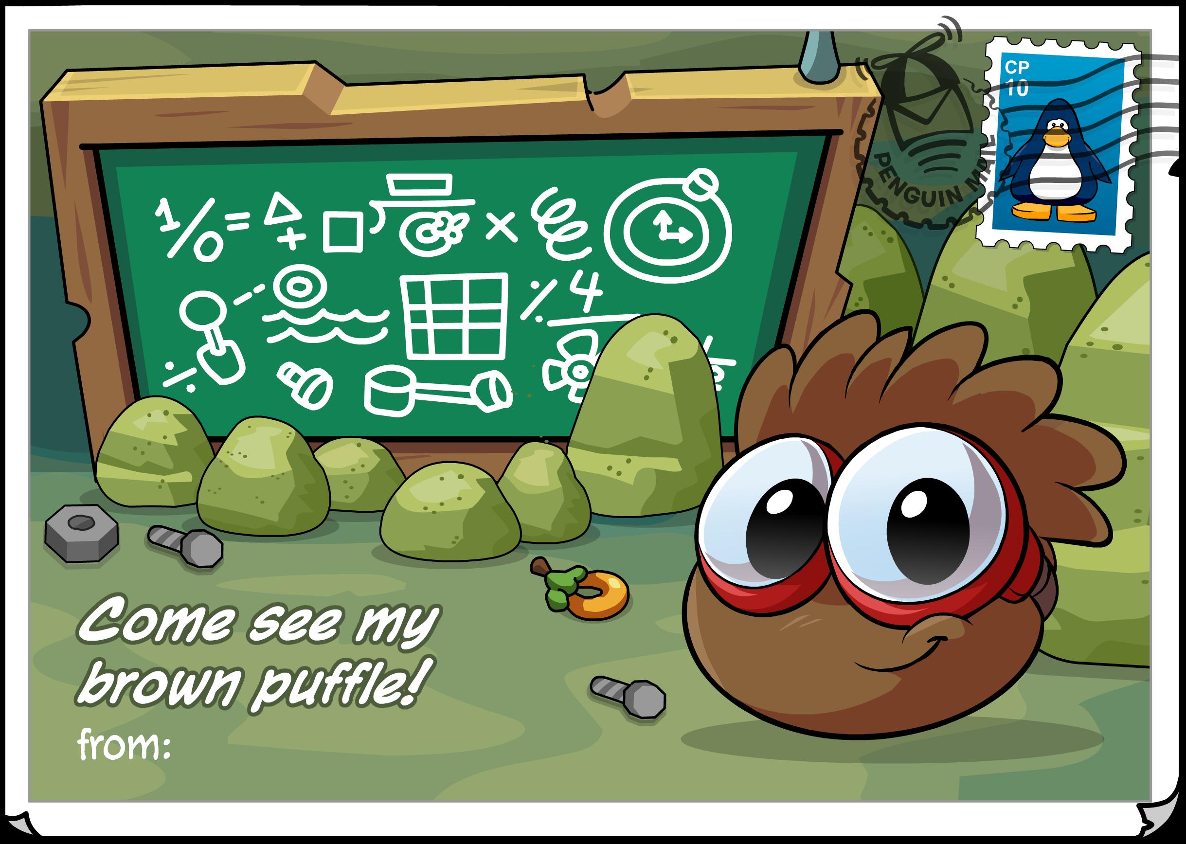Brown Puffle Postcard