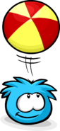 Blue Puffle playing with Beach Ball