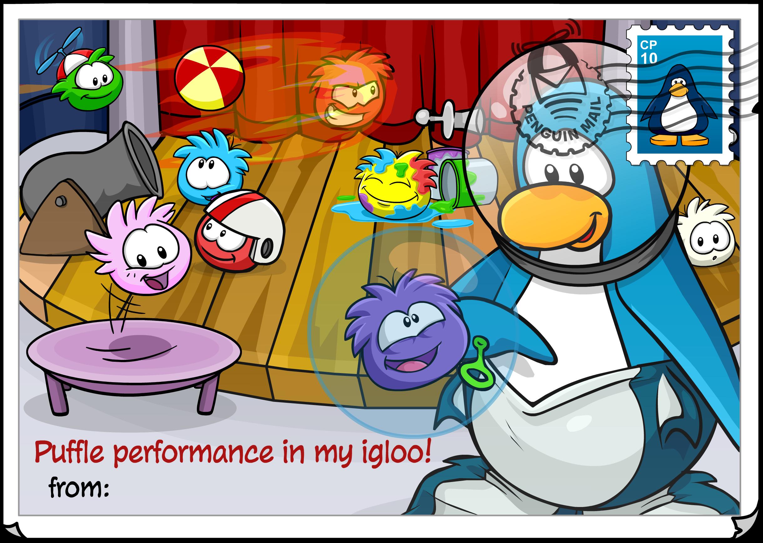 Puffle Performance Postcard