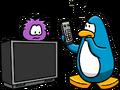 Purple Puffle on Big Screen TV
