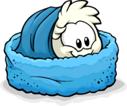White Puffle Blue Puffle Bed