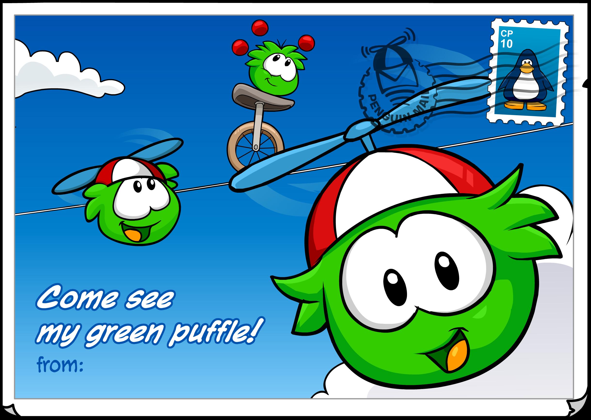 Green Puffle Postcard