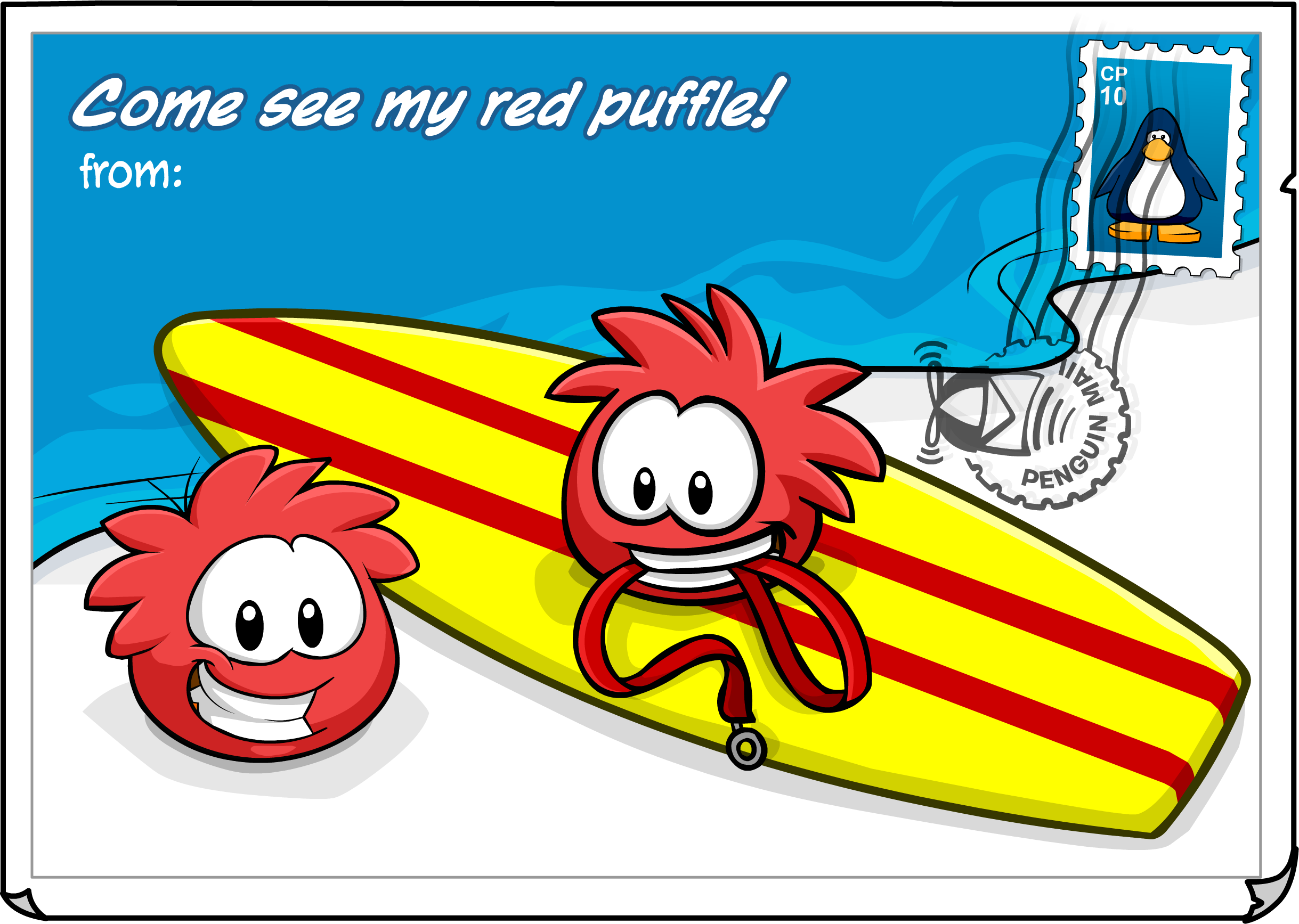 Red Puffle Postcard