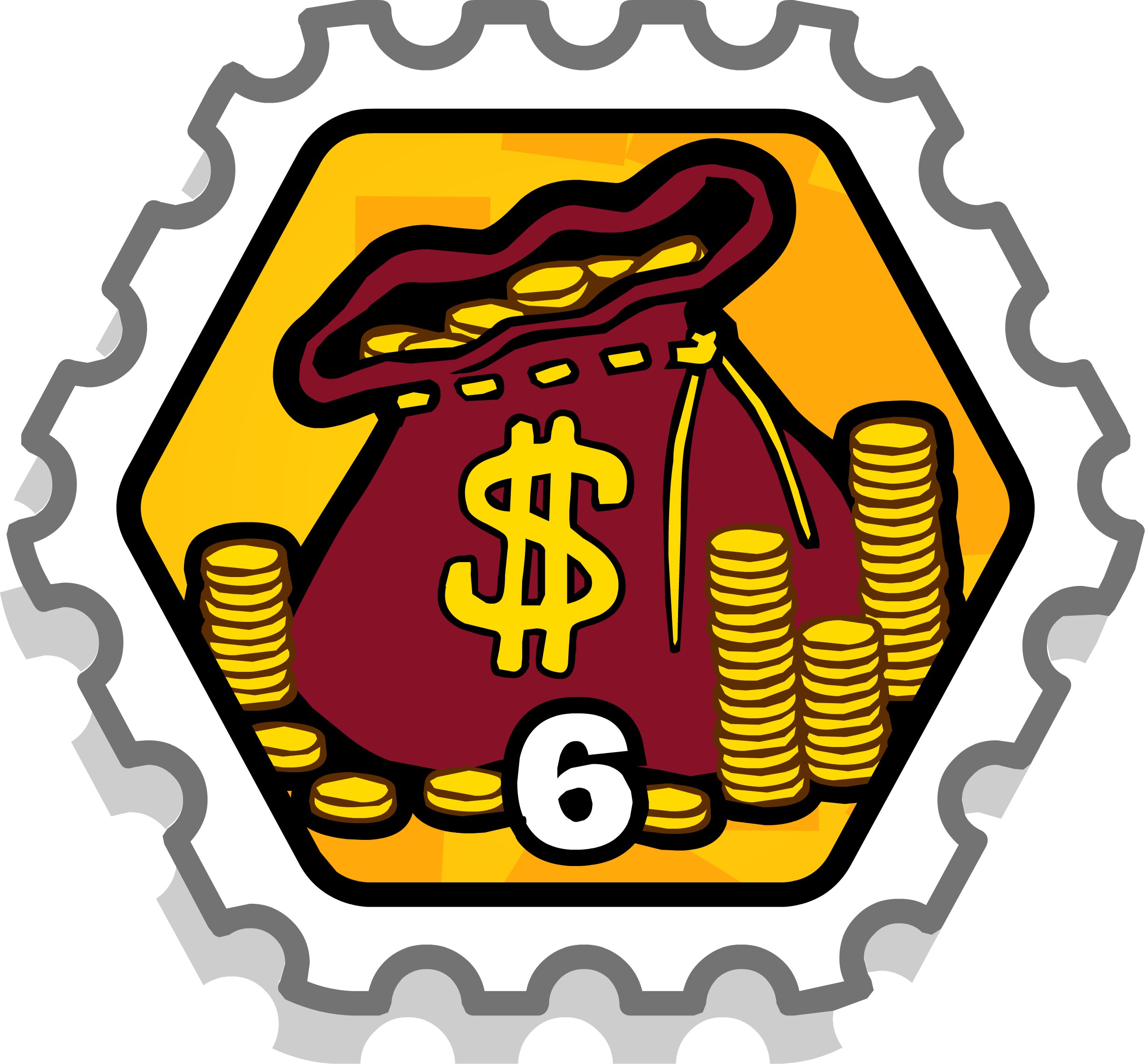 6 Coin Bags Stamp
