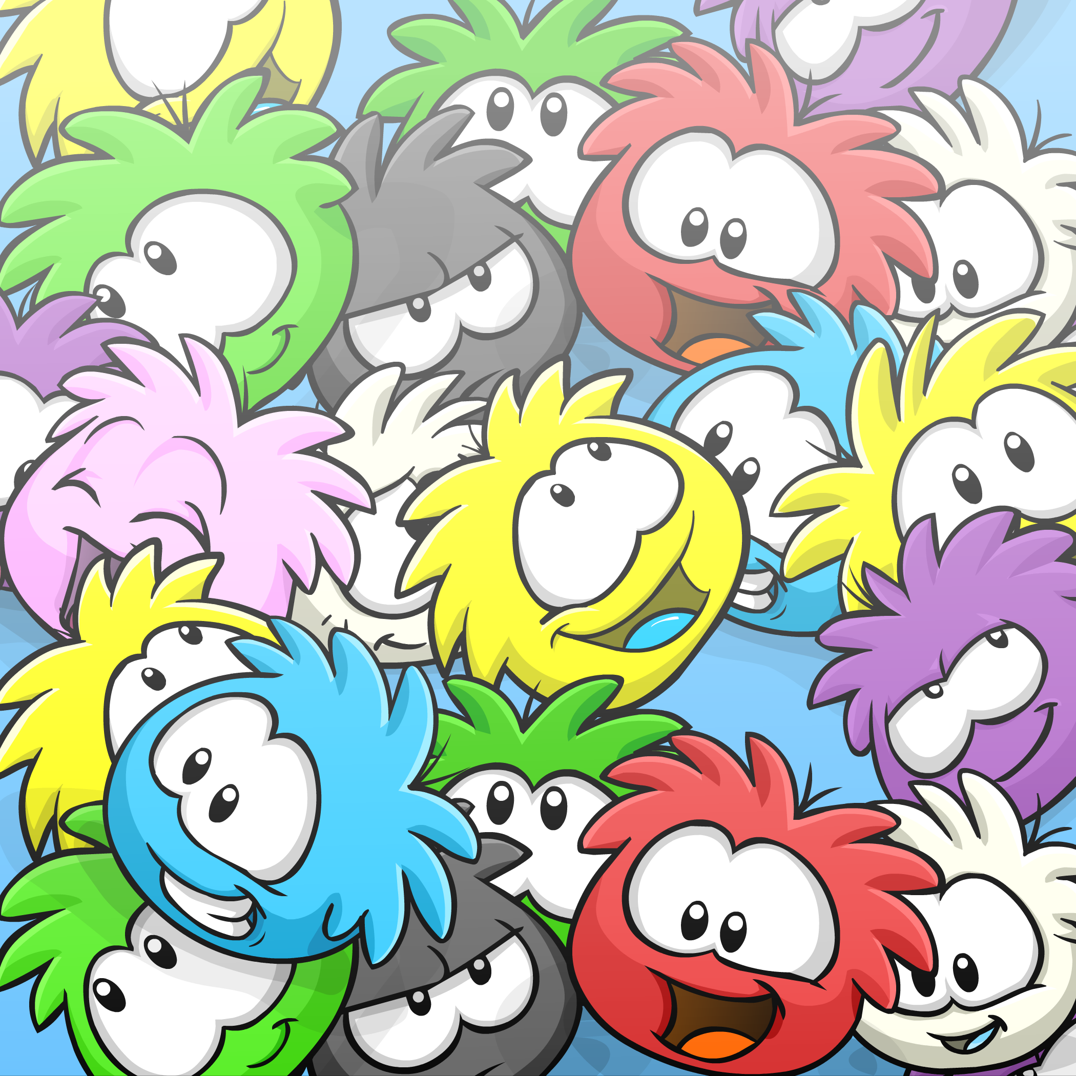 Puffle Collage Background