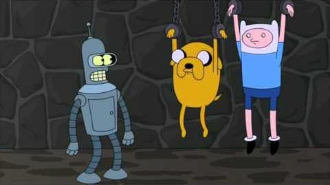 Bender se encuentra con Finn y Jake