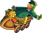 Green penguin riding The Holiday Express.PNG