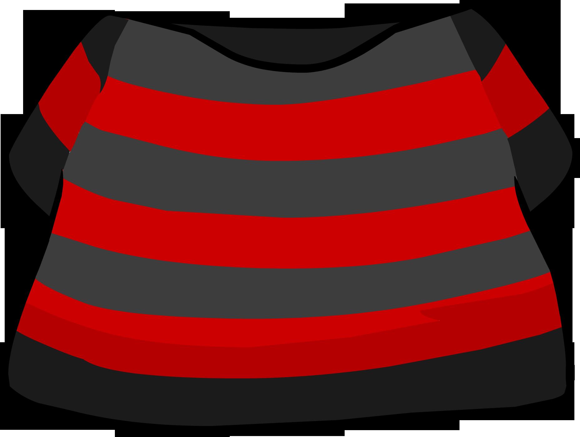 Camiseta a Rayas Negra y Roja