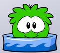 Green puffle bath time
