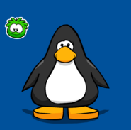 Green Puffle pin on a Player Card