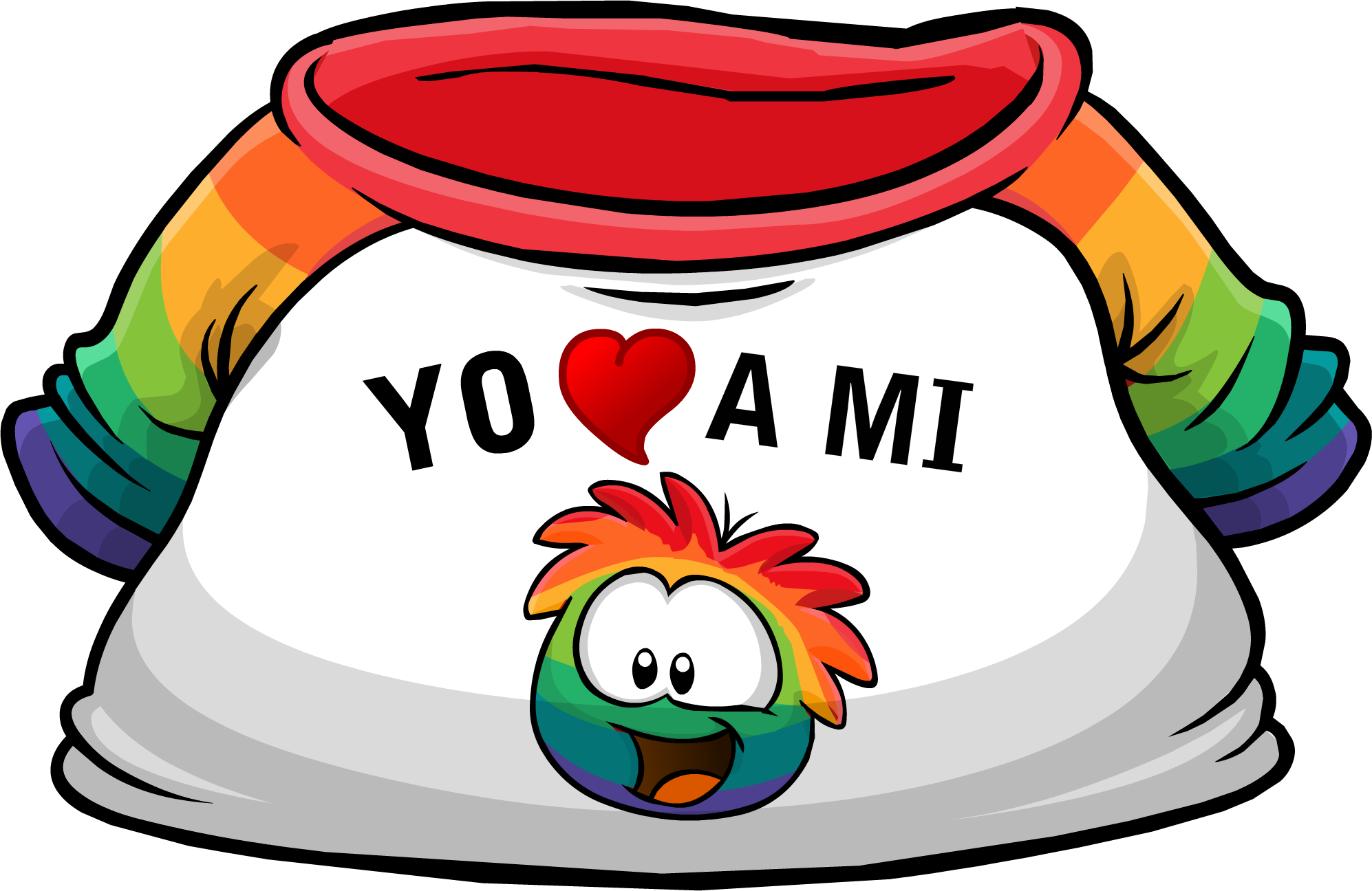 "Camiseta ""Yo Amo a mi Puffle Multicolor"""
