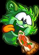 GreenRaccoonPuffleJumpingEatSlicePizza