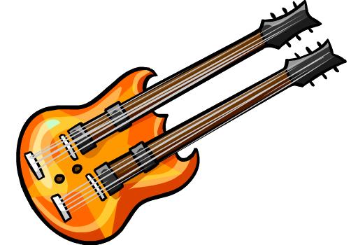 Guitarra de Doble Mango Naranja