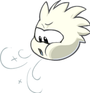 White puffle blowing air