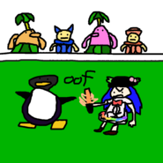 Apj getting beat up by tenshi on a football field with piantas and nokis in the stands