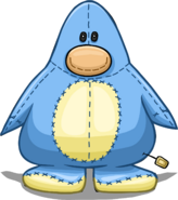 Blue Penguin Stuffie Costume on a Player Card