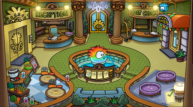Lobby del Hotel para Puffles