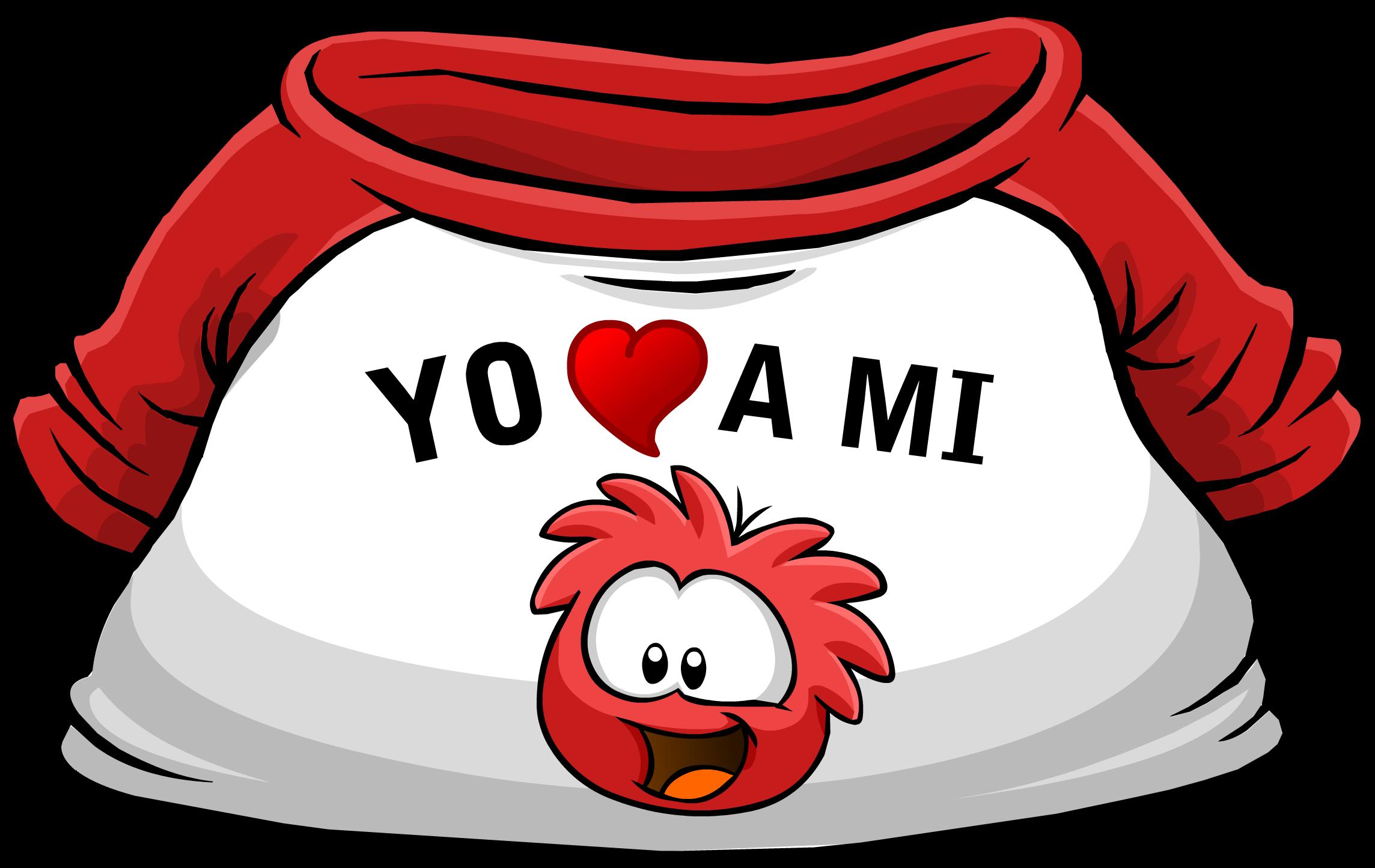 "Camiseta ""Yo Amo a mi Puffle Rojo"""