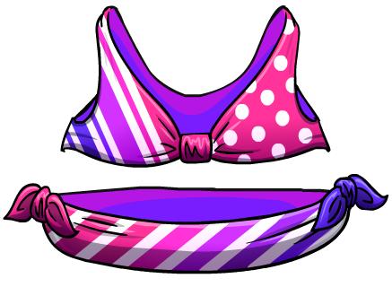Bikini Rayado Rosa y Violeta
