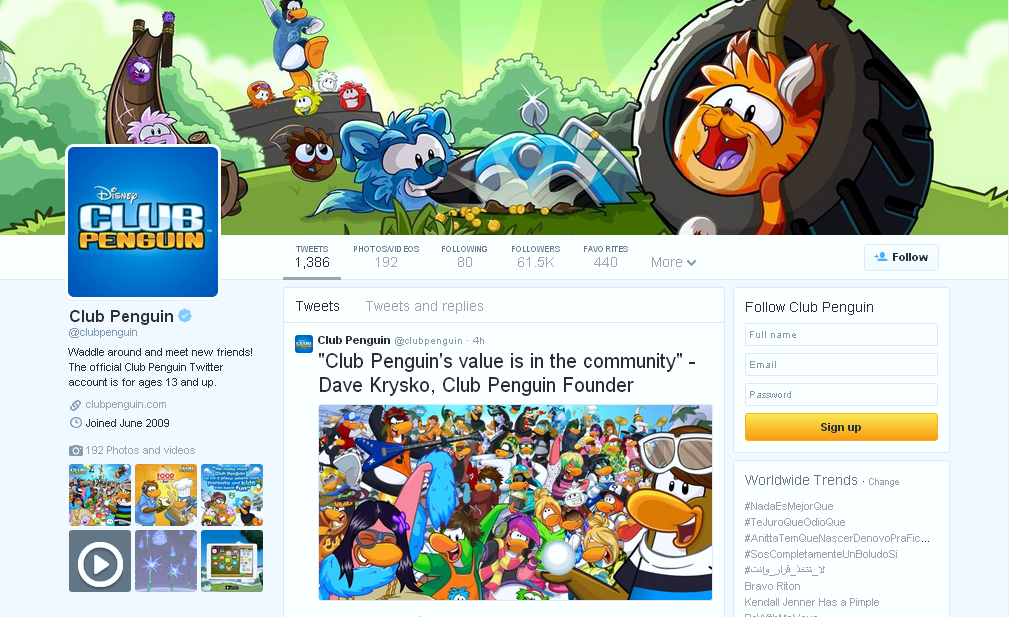 Club Penguin Social Media