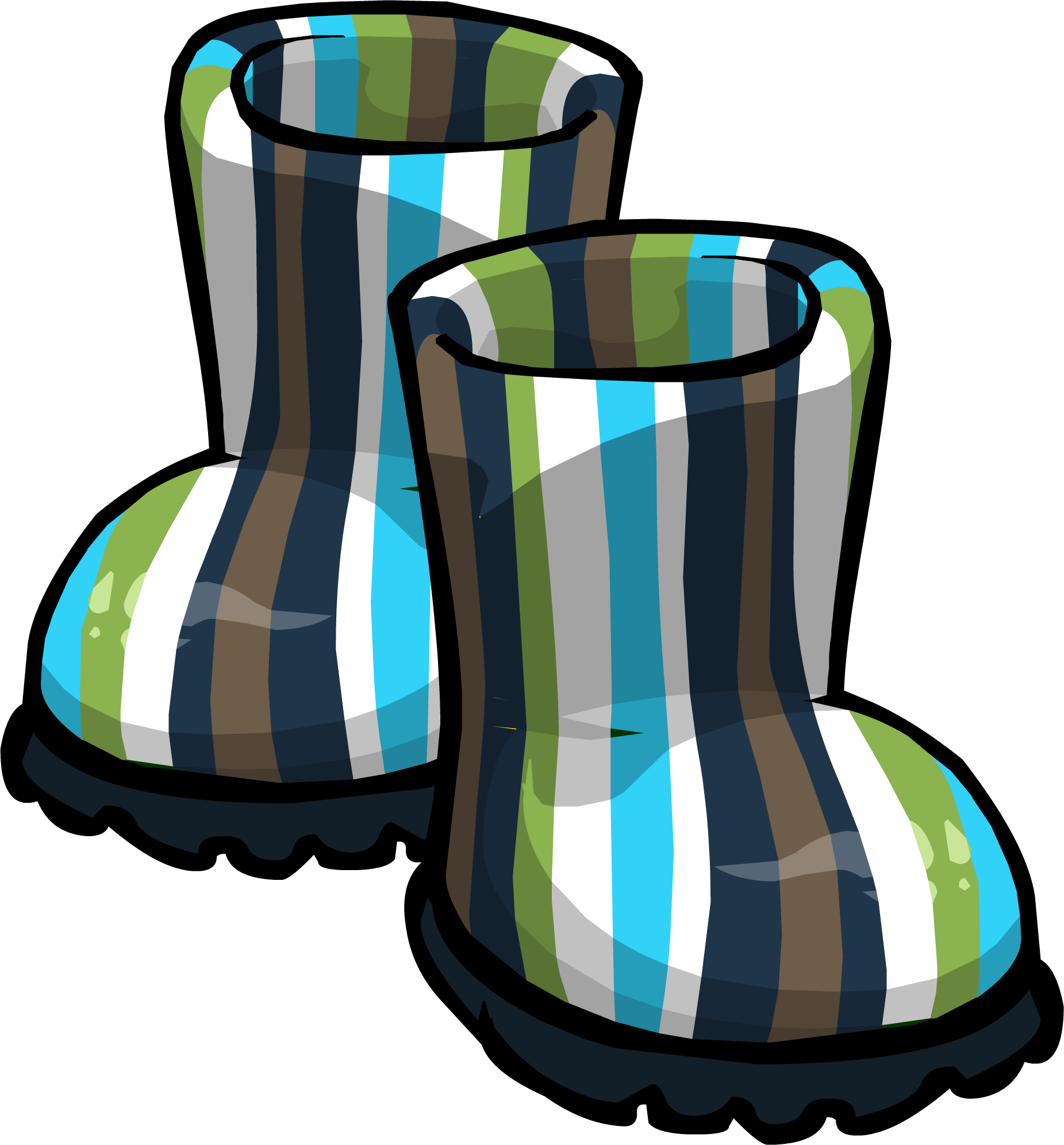 Blue Striped Rubber Boots