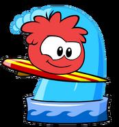 Red puffle taking bath