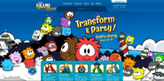 Hoempage screen for Puffle Party