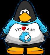 Camiseta Yo Amo a mi Puffle Celeste carta