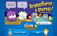 Login Screen of Puffle Party 2012