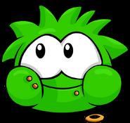 Green PuffleEating
