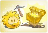 Puffle dorado excabando